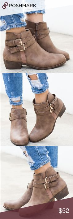 Ankle Booties Flat ankle bootie with side buckles decor. Shoes Ankle Boots & Booties