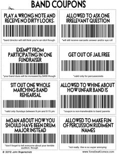 """Band Coupons..all true except for the """"make fun of percussion rudiment names"""" one. BECAUSE Y'ALL BEST LOVE ME.                                                                                                                                                      More"""