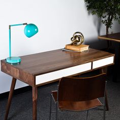 Mid Century Desk with Two Push to Open by FlintAlleyFurniture Mid Century Desk, Mid Century Modern Furniture, Woodworking Shop, Office Desk, Mid-century Modern, Home Decor, Desk Office, Decoration Home, Desk