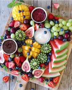 "letscookvegan: ""Fresh fruit platter by ? with coconut yogurt, raspberry chia jam and choc pots to dip it all in! "" letscookvegan: ""Fresh fruit platter by ? with coconut yogurt, raspberry chia jam and choc pots to dip it all in! Party Food Platters, Party Trays, Dessert Platter, Healthy Snacks, Healthy Recipes, Healthy Fit, Fruit Plate, Coconut Yogurt, Vegan Yogurt"