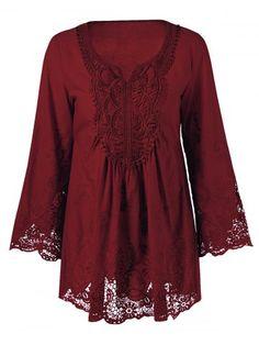 c8052dce3c8 Prezzi e Sconti  Plus lace patchwork peasant blouse ad Euro in