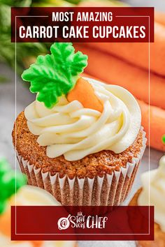 The Most Amazing Carrot Cake Cupcakes are moist, fluffy, and full of delicious spiced carrot cake flavor! This easy one-bowl cupcake recipe includes our favorite cream cheese frosting. These are the perfect spring treat or dessert! #carrotcakecupcakes Sheet Cake Recipes, Frosting Recipes, Cupcake Recipes, Baking Recipes, Dessert Recipes, Carrot Spice Cake, Carrot Cake Cupcakes, Yummy Cupcakes, Cupcake Cakes