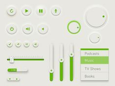 A smooth and green UI kit designed by Rovane Durso, the UI kit contain these elements: buttons, knob, slider, drop down and player controls. The UI kit is - posted under by Fribly Editorial Interface Web, User Interface Design, Ui Ux Design, Graphic Design, Ui Buttons, Ui Elements, Design Elements, Ui Design Inspiration, Ui Kit