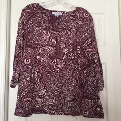 Liz Claiborne Woman top Soft purple and tan swirl top with three quarter sleeves Liz Claiborne Tops