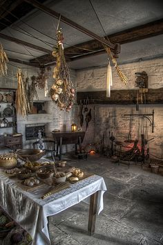 The medieval Ordsall Hall Kitchen, Salford, in Greater Manchester, England.