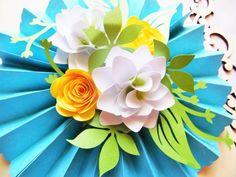 BRICOLAJE de roseta de medallones con flores de papel, flor de papel DIY plantillas, boda decoración de papel, SVG cortar archivos, Studio 3