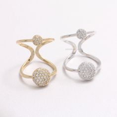 CZ Pave Circles Open Band Ring
