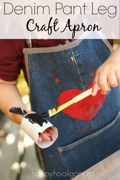 Turn the leg of an old pair of jeans into an adorable, durable, stain-resistant kid's craft apron! If you search the net, you'll probably find 101 things to make out of old jeans. I have two of my own favourite ways to rep-purpose our old jeans into items we use here every day in my daycare. I make homemade denim bibs for the toddlers and preschoolers, and I make these amazing kid's craft aprons in toddler and preschooler sizes. You need just one pant leg to make one apron in either size. I…