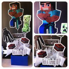 Minecraft centerpiece, Minecraft Birthday Party, Birthday Party, Minecraft Party by InAweCreationbyDiana on Etsy