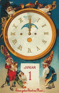 Vintage Happy New Year Postcard: elves with trumpets and old clock. Vintage Happy New Year, Happy New Year 2015, Happy New Year Cards, New Year Greeting Cards, New Year Wishes, New Year Greetings, Vintage Greeting Cards, Vintage Christmas Cards, Christmas Images