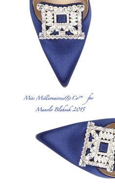 Manolo Blahnik 2015 'Borlak' Navy Satin Embellished Pump