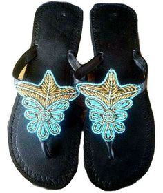 Blue gold Leather and bead Sandals,