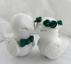 Love Birds Wedding Cake Topper White Vintage Pink and Grey