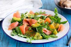 salad, avocando, egg, green, solmon