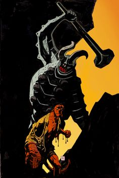 Hellboy by Mike Mignola Comic Book Artists, Comic Book Characters, Comic Artist, Comic Character, Comic Books Art, Mike Mignola Art, Illustrations, Illustration Art, Comics