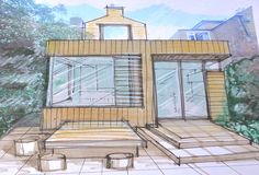 VC Design visual with kitchen to right and dining/ living to the left leading to courtyard on the south facing side- window seat with shutters that slide behind one another Rear Extension, Side Window, House Extensions, Bespoke Design, New Builds, Shutters, Cabin, Windows, London