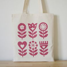 Hand Screen Printed, Scandinavian Flower Design, Tote Bag, Shopper Bag, Folk Art. Fran Wood Design - online shops at Folksy and Etsy.