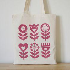 Hand Screen Printed, Scandinavian Flower Design, Tote Bag, Shopper Bag, Folk Art. Fran Wood Design - online shops at Folksy and Etsy.