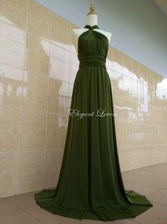 Vestidos de fiesta en color verde olivo
