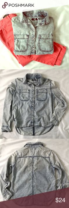 Urban Outfitters Acid Wash Chambray Denim Shirt EUC! UO brand BDG. Acid washed denim chambray button down shirt. Distressed buttons. 100% cotton. Small paint spot on shoulder, shown in last photo. No other stains or imperfections. 🚫trades🚫 smoke free home Urban Outfitters Tops Button Down Shirts