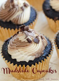 Kahula and Baileys Buttercream are swirled together and topped onto a rich dark chocolate cupcake to create one delicious combination. Mudslide Cupcakes!