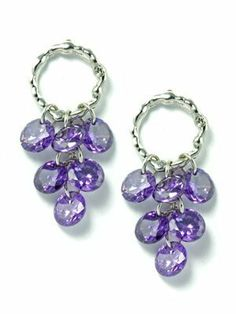 18k White Gold Plated Twisted Hoop with Clustered Purple CZ Grapes Earrings le Jane. $19.00. Five 6mm Purple Round CZ Stone. Purple Cubic Zirconia Grapes. 18K White Gold Plated Small Hoop. Post Drop Chandelier Earrings. Luxurious and elegant look. Save 51% Off!