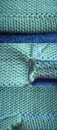 Live stitches from the last row of a sleeve for a folded / turned hem on the WS: sewing tidily & nicely. => grafting to row ~~ Use for collar / neckHem knitting (not in English, but photos helpful)Posts on the topic of tecniques added by Teixir Mitja Knitting Stiches, Knitting Help, Loom Knitting, Crochet Stitches, Hand Knitting, Knitting Basics, Knitting Patterns, Knit Or Crochet, Knit Stitches