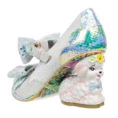 Lammie - Announcing our newest member to the character heel collection. little lamb heels! Lammie is here for all the girls out there looking for something quirky and cute! Its bobbley material upper and big fabric bows make this style totally adorable! Funky Shoes, Crazy Shoes, Me Too Shoes, Irregular Choice Shoes, Unique Heels, Fabric Bows, How To Make Bows, Types Of Shoes, Beautiful Shoes
