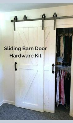 The sliding barn door is so cool, and a simple DIY project. This hardware is what you need to complete it. #ad #farmhousestyle #barndoor