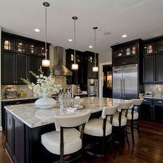 black cabinets, black kitchens, light, countertop, dream kitchens, island, bar designs, white kitchens, kitchen cabinets