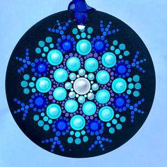 Excited to share this item from my shop: Dot Mandala pointillism wood tile ornament original art Blue, turquoise, purple, pearl Mandala Art, Mandala Jewelry, Mandala Painting, Mandala Pattern, Flower Mandala, Mandala Design, Dot Painting Tools, Dot Art Painting, Painting Patterns