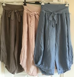 Ladies Italian LAGENLOOK Stretch LINEN Baggy Comfy CULLOTES 3/4 HAREM Trousers | eBay