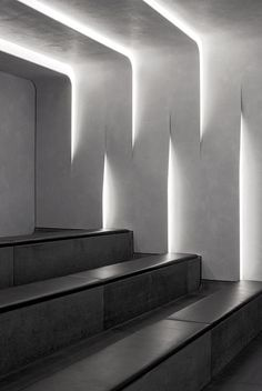 Bright white light picks out the architectural details