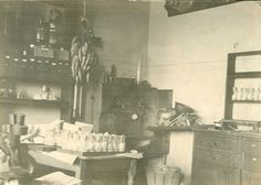 A photograph shows a corner of Thomas Hunt Morgan's fruit fly laboratory. There are bunches of bananas hanging from a rope above a table of fruit fly-containing flasks. A light microscope is seen sitting on a table on the far left side of the photograph. The wall on the left side behind the table with the fruit flies has one shelf with some black boxes with white labels, and the shelves above and below it are holding containers of various sizes and shapes. The wall on the right side has a…