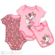 Minnie Mouse Printed Creepers and Bib Set for Baby Girls.  Disney   MickeyMinnie   9b2134a0c