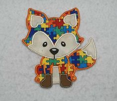 Fox Autism Awareness Puzzle Piece - MADE to ORDER - Choose SIZE - Tutu & Shirt Supplies - fabric Iron on Applique Patch 7771