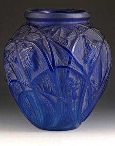 Lalique Sauterelles vase  Electric Blue 'Sauterelles' vase, c1921. One of a selection of lalique pieces.