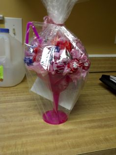 Lollipop Bouquet in a Daiquiri Glass with a Bendy Straw...Great Thank You Gift Idea