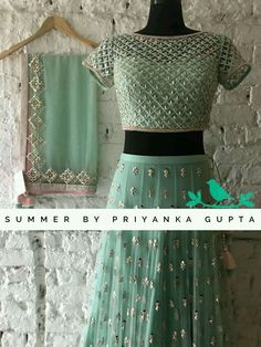 Gorgeous light mint green color lehenga and blouse with net dupatta. Lehenga and blouse with hand embroidery bead and kundan work. 07 September 2018 WhatsApp us for Purchase & Inquiry : Buy Best Designer Collection from by Half Saree Lehenga, Lehenga Gown, Lehnga Dress, Party Wear Lehenga, Lehenga Blouse, Indian Lehenga, Black Lehenga, Net Lehenga, Half Saree Designs