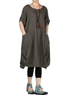 899cede083f9ce New Mordenmiss Mordenmiss Women s Summer Roll-up Sleeve Baggy Dress Pockets  online shopping