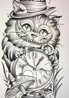 Alice Im Wunderland Zeichnungen - Со Старым Новым Годом Tattoo Sketches, Drawing Sketches, Tattoo Drawings, Tattoo Cat, Alice In Wonderland Drawings, Alice And Wonderland Quotes, Gato Alice, Cat Sketch, Desenho Tattoo