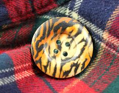 Tiger Pattern Wooden Buttons -  Broad Border Recessed Center Concave Tiger Pattern Wood Buttons, 1.18 inch ( 6 in a set) by Lyanwood, $3.50