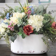 Farmhouse Decor~Cotton Arrangement~Table Centerpiece~Lamb's Ear~Lavender and Cotton in a White Pitcher - Care - Skin care , beauty ideas and skin care tips Summer Flowers, Silk Flowers, Beautiful Flowers, Beautiful Bouquets, Colorful Flowers, Deco Floral, Floral Design, Rustic Centerpieces, Table Decorations
