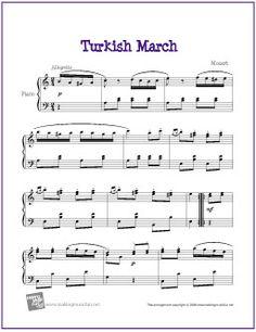 Turkish March (Mozart) | Free Sheet Music for Piano - http://makingmusicfun.net/htm/f_printit_free_printable_sheet_music/turkish-march-piano-solo.htm