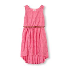 Image for Girls Sleeveless Crochet Belted Hi-Low Dress from The Children's Place