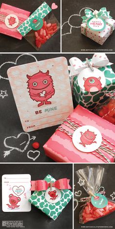Free printable kids Valentine's stickers and wrapping paper - love these little monsters <3