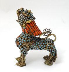 "ANTIQUE Ornate Tibetan SNOW LION - JEWELED Brass Filigree 4-1/2"" - C. 1900 FINE!"