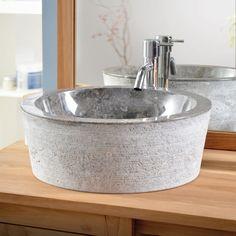 Marmorwaschtisch Exo Stri Grey – Kauf von Massivholzwaschtisch - Tikamoon