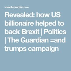 Revealed: how US billionaire helped to back Brexit   Politics   The Guardian =and trumps campaign