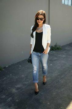 Boyfriend jeans black top white blazer heels